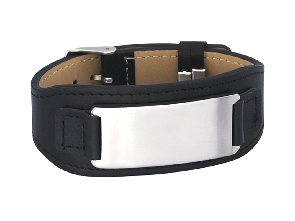 Armband Rocker Steel & Leather Black - utan gravyr