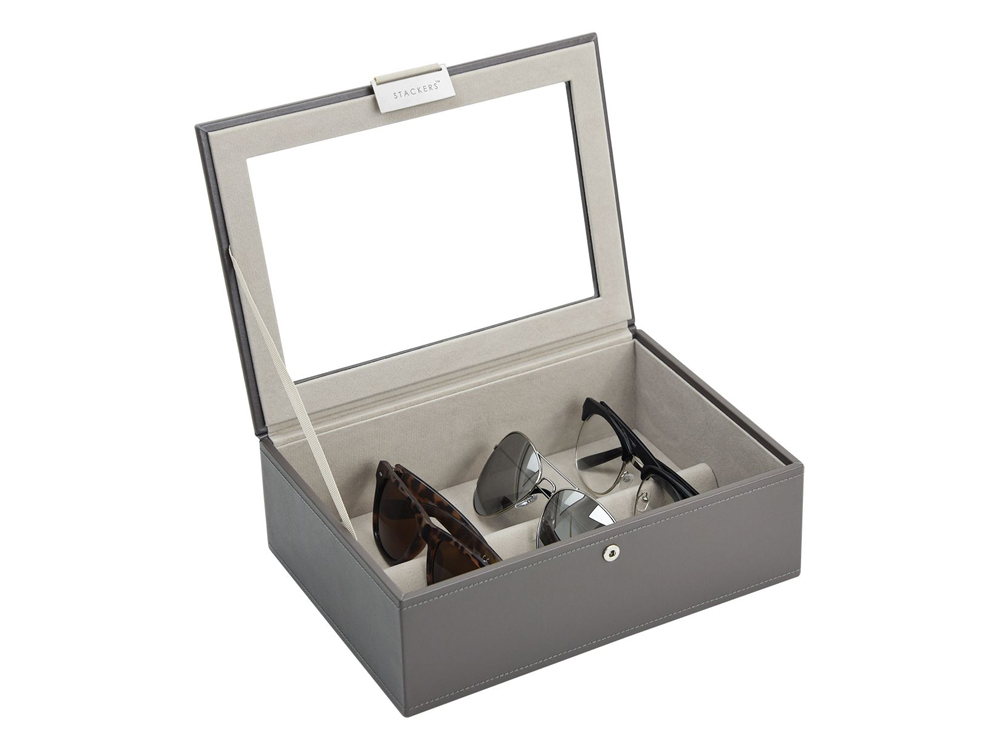 Förvaringslåda Solglasögon Stackers Mink & Grey - utan gravyr