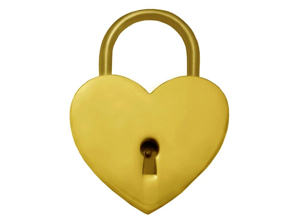 Kärlekslås Heart Golden 44 mm – utan gravyr