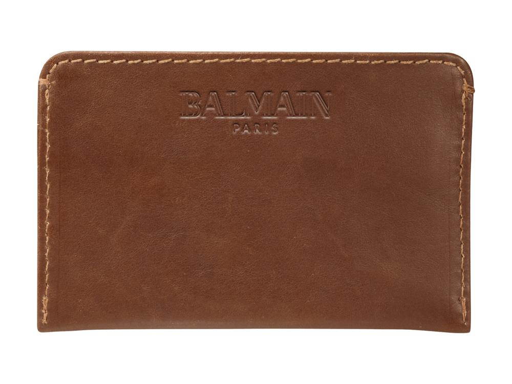 Kortfodral Balmain Leather Brown – utan gravyr