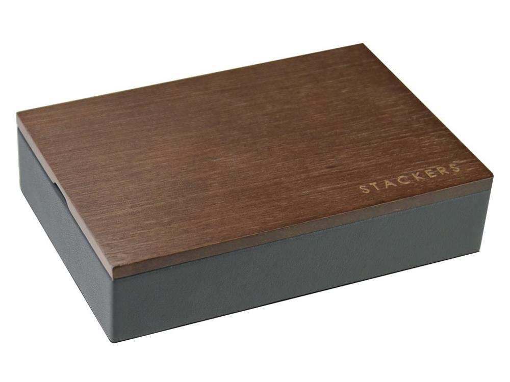 Förvaringslåda Manschettknappar Stackers Charcoal Dark Wood – utan gravyr