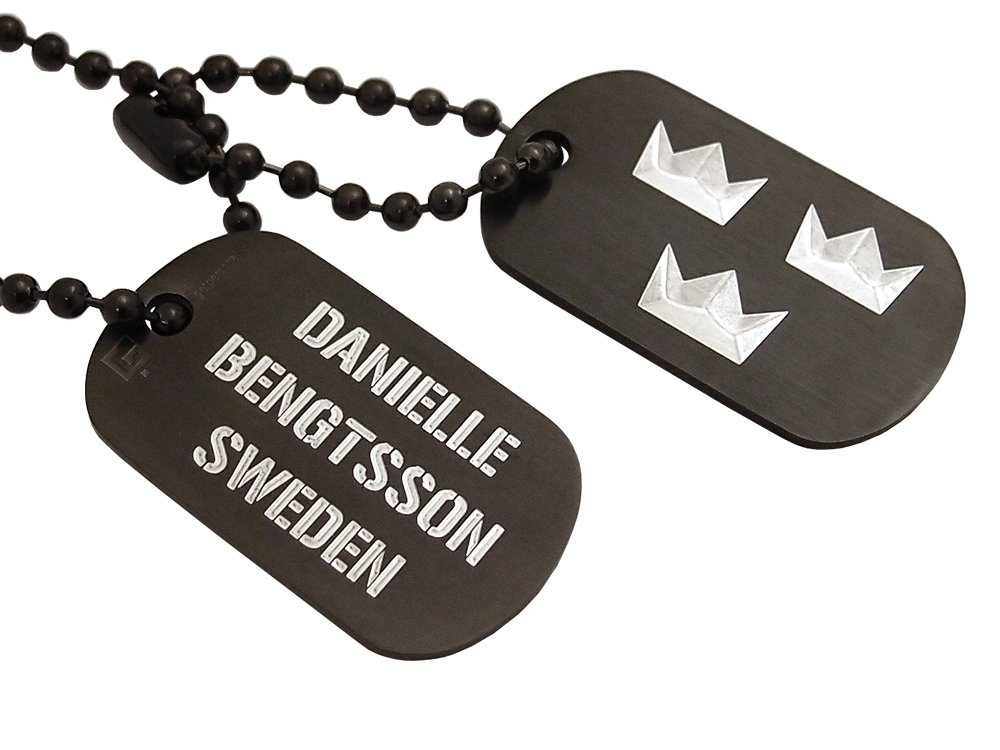 Dogtags Private Steel Black Tre Kronor ? utan gravyr