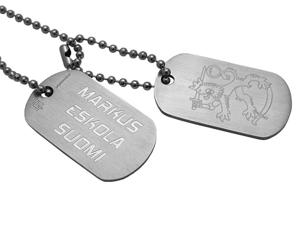 Dogtags Private Brushed Steel Suomi – utan gravyr
