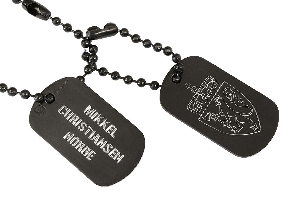 Dogtags Private Steel Black Norwegian Coat of Arms - utan gravyr