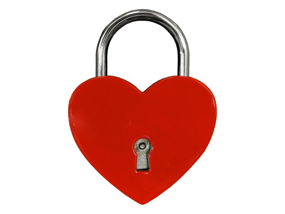 Kärlekslås Heart Red 44 mm – utan gravyr