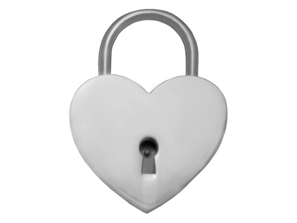 Kärlekslås Heart Silver 44 mm – utan gravyr