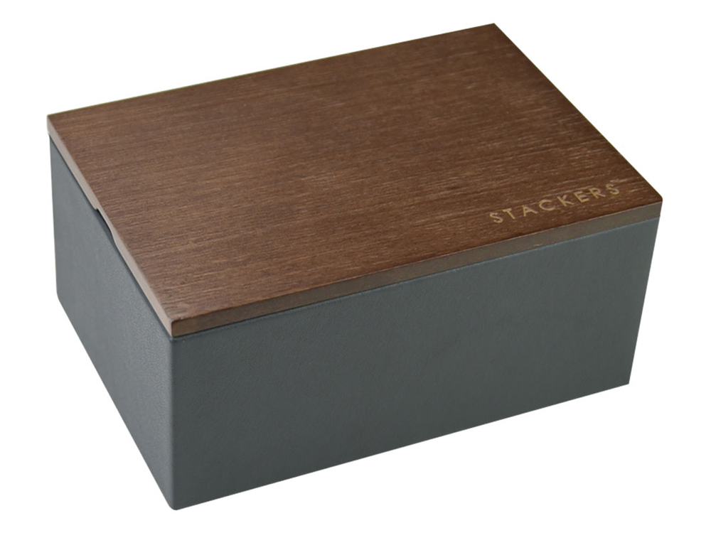 Klocklåda Stackers Charcoal Dark Wood Mini – utan gravyr