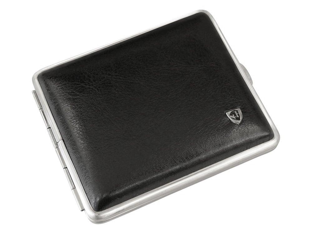 Cigarettetui VH Black Leather Steel – utan gravyr